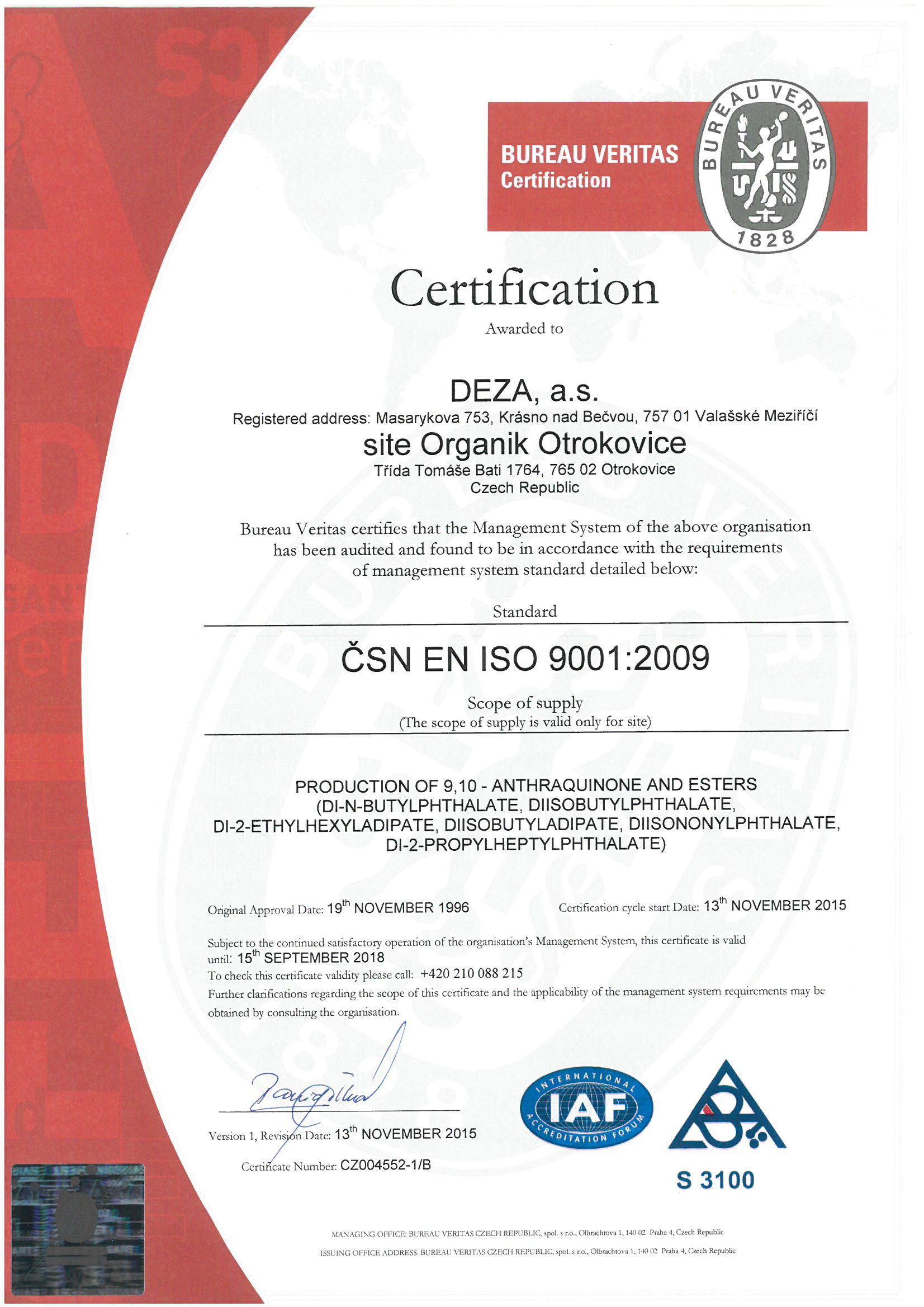Quality Assurance Policy Deza A S